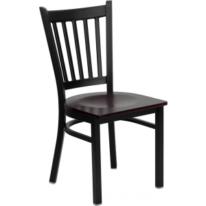 Wholesale HERCULES Series Black Vertical Back Metal Restaurant Chair - Mahogany Wood Seat