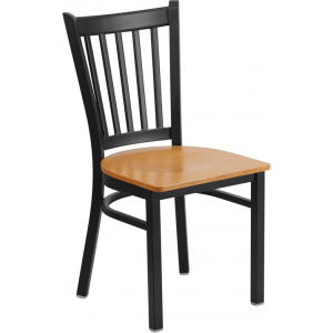 Wholesale HERCULES Series Black Vertical Back Metal Restaurant Chair - Natural Wood Seat