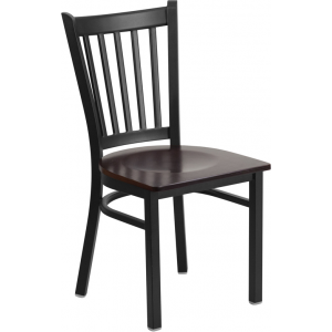 Wholesale HERCULES Series Black Vertical Back Metal Restaurant Chair - Walnut Wood Seat
