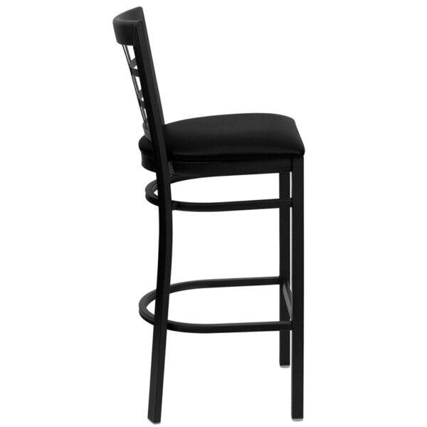 Lowest Price HERCULES Series Black Window Back Metal Restaurant Barstool - Black Vinyl Seat