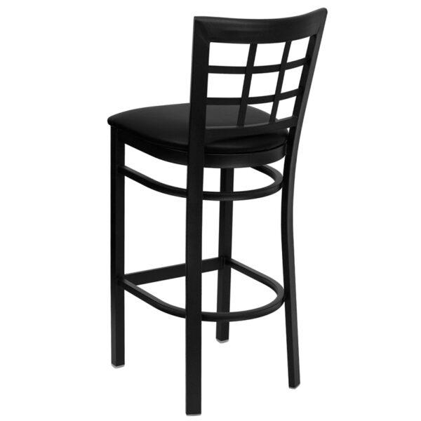 Metal Dining Bar Stool Black Window Stool-Black Seat