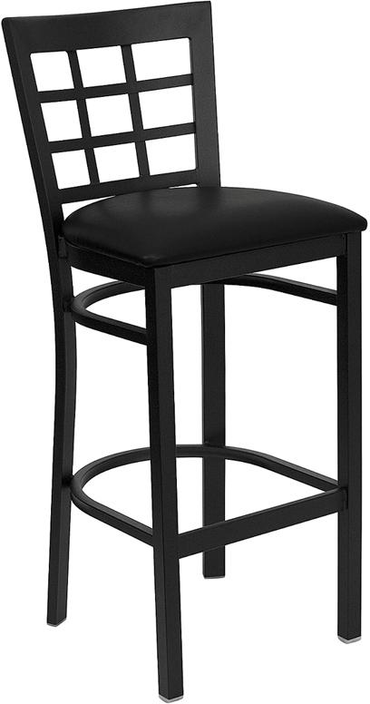 Wholesale HERCULES Series Black Window Back Metal Restaurant Barstool - Black Vinyl Seat