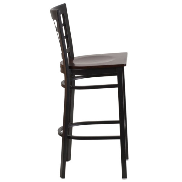 Lowest Price HERCULES Series Black Window Back Metal Restaurant Barstool - Walnut Wood Seat