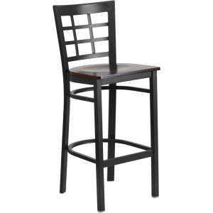 Wholesale HERCULES Series Black Window Back Metal Restaurant Barstool - Walnut Wood Seat
