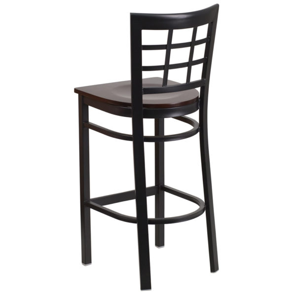 Metal Dining Bar Stool Black Window Stool-Wal Seat
