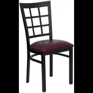 Wholesale HERCULES Series Black Window Back Metal Restaurant Chair - Burgundy Vinyl Seat