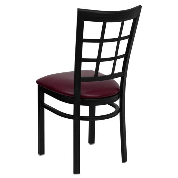 Metal Dining Chair Black Window Chair-Burg Seat