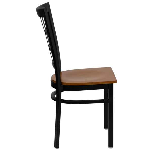 Lowest Price HERCULES Series Black Window Back Metal Restaurant Chair - Cherry Wood Seat