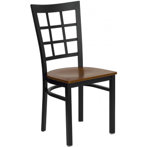 Wholesale HERCULES Series Black Window Back Metal Restaurant Chair - Cherry Wood Seat