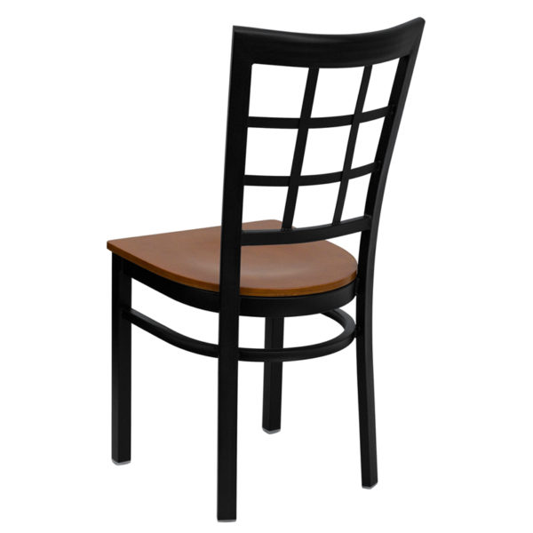 Metal Dining Chair Black Window Chair-Cherry Seat