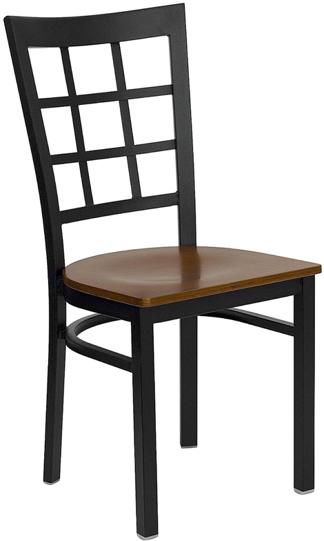 Wholesale HERCULES Series Black Window Back Metal Restaurant Chair - Cherry Wood Seat