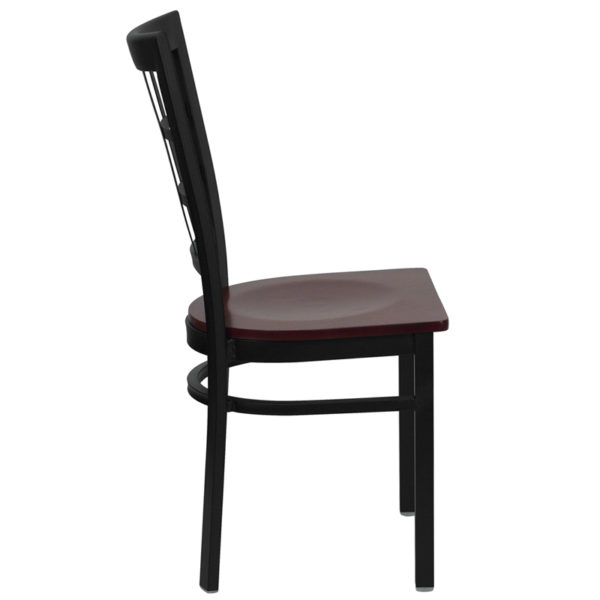 Lowest Price HERCULES Series Black Window Back Metal Restaurant Chair - Mahogany Wood Seat