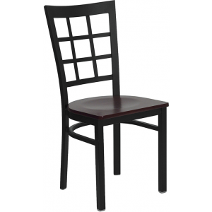 Wholesale HERCULES Series Black Window Back Metal Restaurant Chair - Mahogany Wood Seat