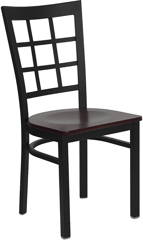 Wholesale HERCULES Series Black Window Back Metal Restaurant Chair - Mahogany Wood Seat