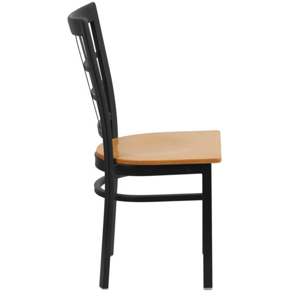 Lowest Price HERCULES Series Black Window Back Metal Restaurant Chair - Natural Wood Seat