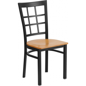 Wholesale HERCULES Series Black Window Back Metal Restaurant Chair - Natural Wood Seat