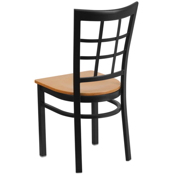 Metal Dining Chair Black Window Chair-Nat Seat