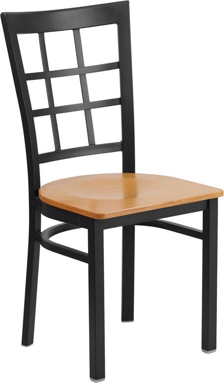 Wholesale HERCULES Series Black Window Back Metal Restaurant Chair - Natural Wood Seat