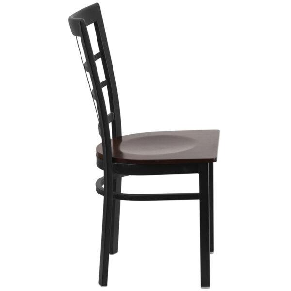 Lowest Price HERCULES Series Black Window Back Metal Restaurant Chair - Walnut Wood Seat