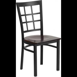 Wholesale HERCULES Series Black Window Back Metal Restaurant Chair - Walnut Wood Seat