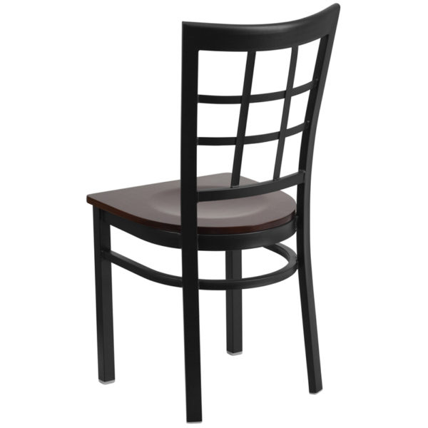 Metal Dining Chair Black Window Chair-Wal Seat