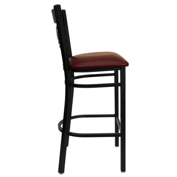 Lowest Price HERCULES Series Black ''X'' Back Metal Restaurant Barstool - Burgundy Vinyl Seat