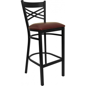 Wholesale HERCULES Series Black ''X'' Back Metal Restaurant Barstool - Burgundy Vinyl Seat