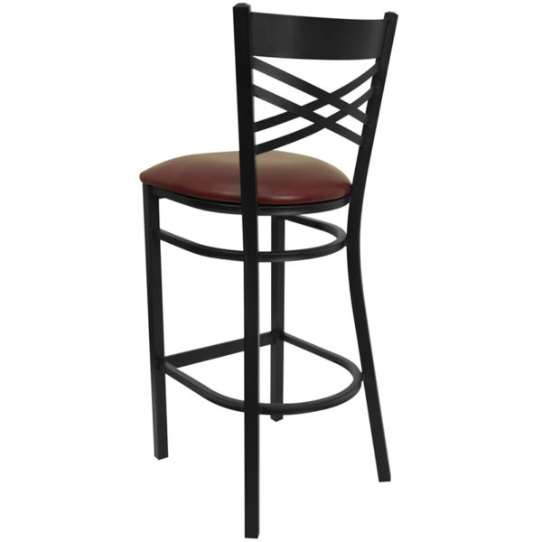 Metal Dining Bar Stool Black X Stool-Burg Seat