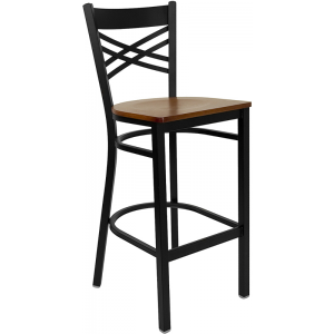 Wholesale HERCULES Series Black ''X'' Back Metal Restaurant Barstool - Cherry Wood Seat