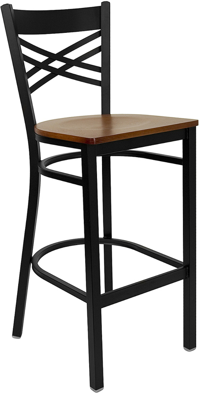 Wholesale HERCULES Series Black ''X'' Back Metal Restaurant Barstool - Cherry Wood Seat