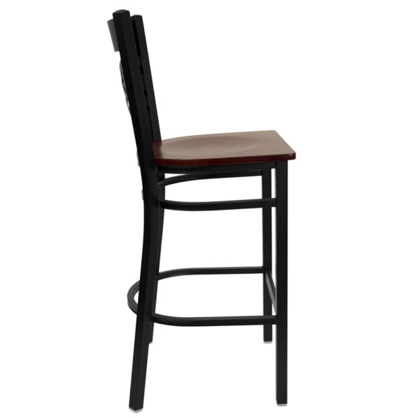 Lowest Price HERCULES Series Black ''X'' Back Metal Restaurant Barstool - Mahogany Wood Seat