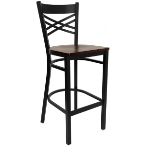 Wholesale HERCULES Series Black ''X'' Back Metal Restaurant Barstool - Mahogany Wood Seat