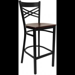 Wholesale HERCULES Series Black ''X'' Back Metal Restaurant Barstool - Mahogany Wood Seat