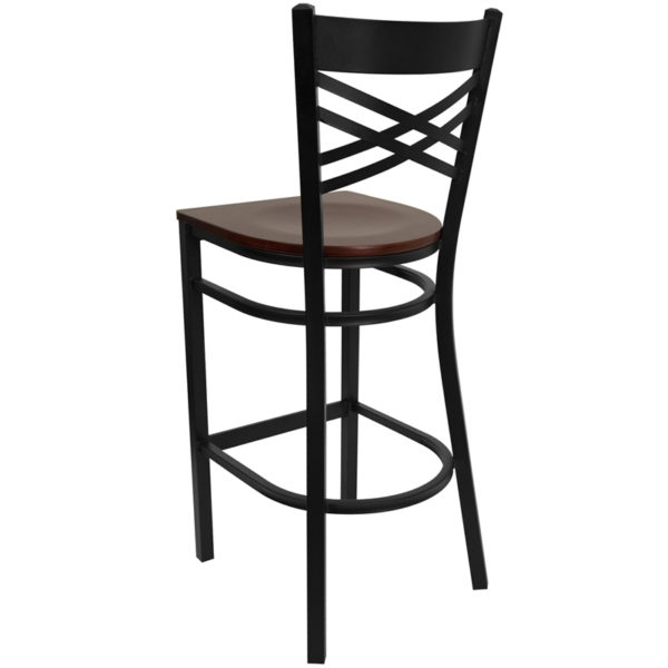 Metal Dining Bar Stool Black X Stool-Mah Seat