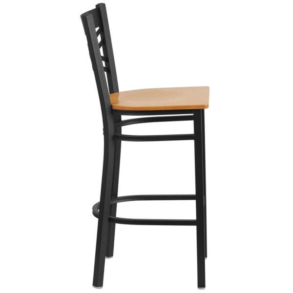 Lowest Price HERCULES Series Black ''X'' Back Metal Restaurant Barstool - Natural Wood Seat