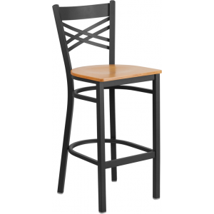 Wholesale HERCULES Series Black ''X'' Back Metal Restaurant Barstool - Natural Wood Seat
