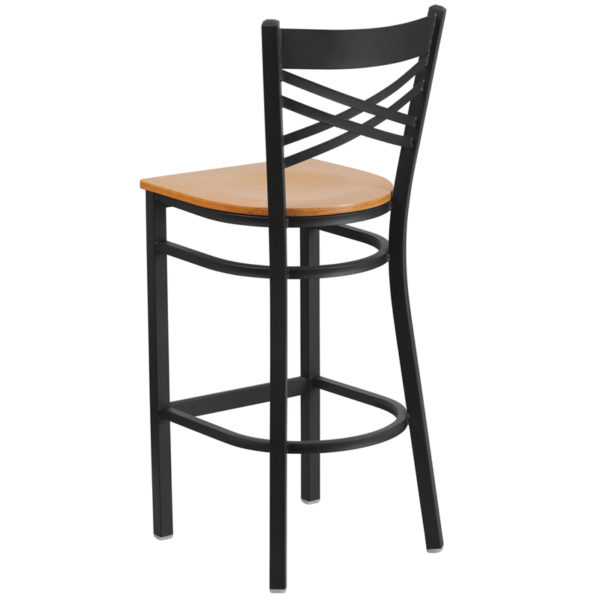 Metal Dining Bar Stool Black X Stool-Nat Seat