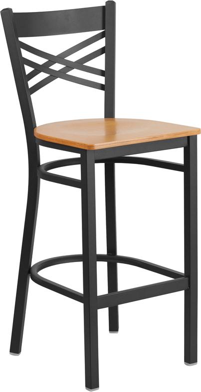 Wholesale HERCULES Series Black ''X'' Back Metal Restaurant Barstool - Natural Wood Seat