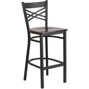 Wholesale HERCULES Series Black ''X'' Back Metal Restaurant Barstool - Walnut Wood Seat