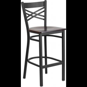 Wholesale HERCULES Series Black ''X'' Back Metal Restaurant Barstool - Walnut Wood Seat