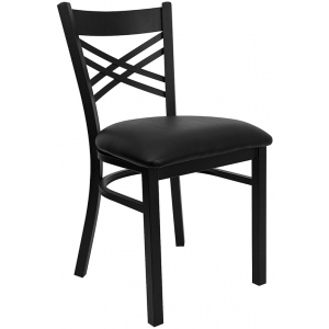 Wholesale HERCULES Series Black ''X'' Back Metal Restaurant Chair - Black Vinyl Seat