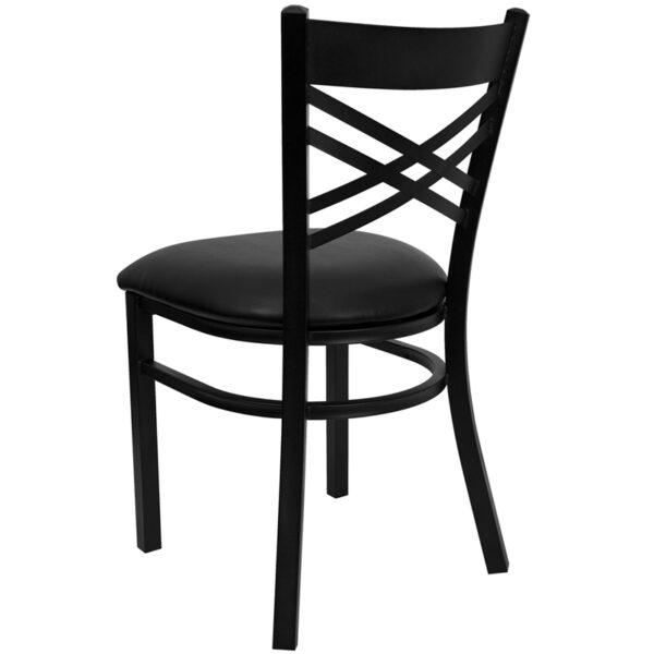 Metal Dining Chair Black X Chair-Black Seat