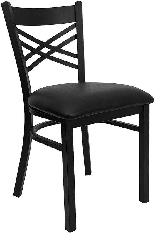 Wholesale HERCULES Series Black ''X'' Back Metal Restaurant Chair - Black Vinyl Seat