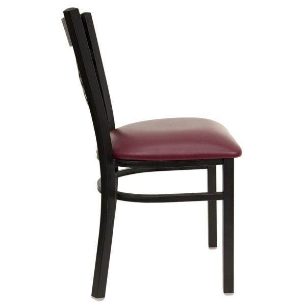 Lowest Price HERCULES Series Black ''X'' Back Metal Restaurant Chair - Burgundy Vinyl Seat