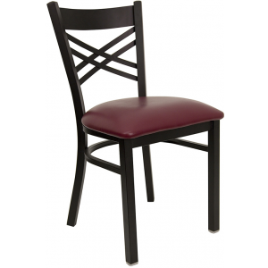 Wholesale HERCULES Series Black ''X'' Back Metal Restaurant Chair - Burgundy Vinyl Seat