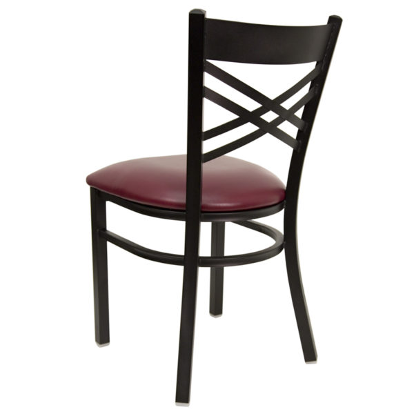 Metal Dining Chair Black X Chair-Burg Seat