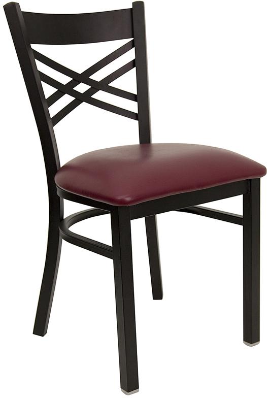 Wholesale HERCULES Series Black ''X'' Back Metal Restaurant Chair - Burgundy Vinyl Seat