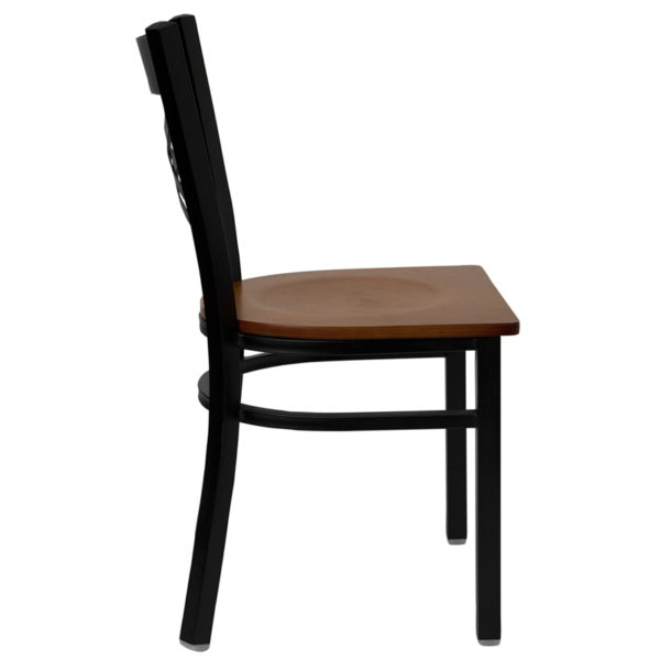 Lowest Price HERCULES Series Black ''X'' Back Metal Restaurant Chair - Cherry Wood Seat