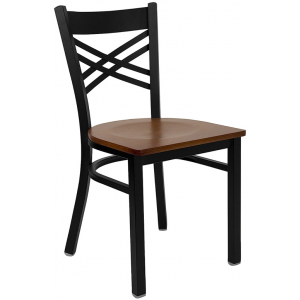 Wholesale HERCULES Series Black ''X'' Back Metal Restaurant Chair - Cherry Wood Seat