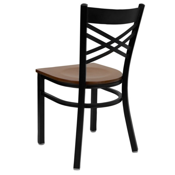 Metal Dining Chair Black X Chair-Cherry Seat